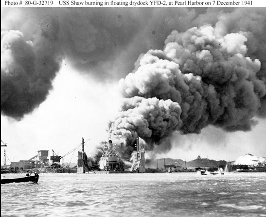 USS SHAW BURNING IN FLOATING DRYDOCK