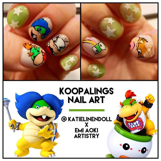 I 💙 Koopalings! Another crazy nail art request beautifully hand painted by my gal @emi_aoki_nails 😋🎮💅🏻 . . . #geekandglam #gamergirl #nintendolife #koopalings #koopatroopa #nailstagram #nailart #naildesigns #naildesignideas #nailartideas #nintendonails #nintendogirl #nintendogamer #bowserjr #ludwigvonkoopa #wendykoopa #lemmykoopa #iggykoopa #larrykoopa @nintendo @nintendonyc