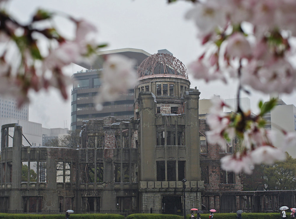 Hiroshima Peace Dome Framed by Renewal (Cherry Blossoms)