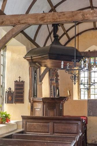 Three-decker pulpit, north aisle. Church of St Mary, Molland.