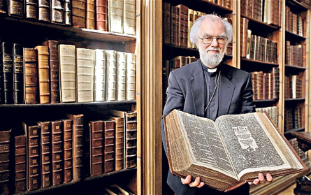 Archibishop Rowan Williams with a copy of the King James Bible in the Lambeth Palace Library The Telegraph Onlin