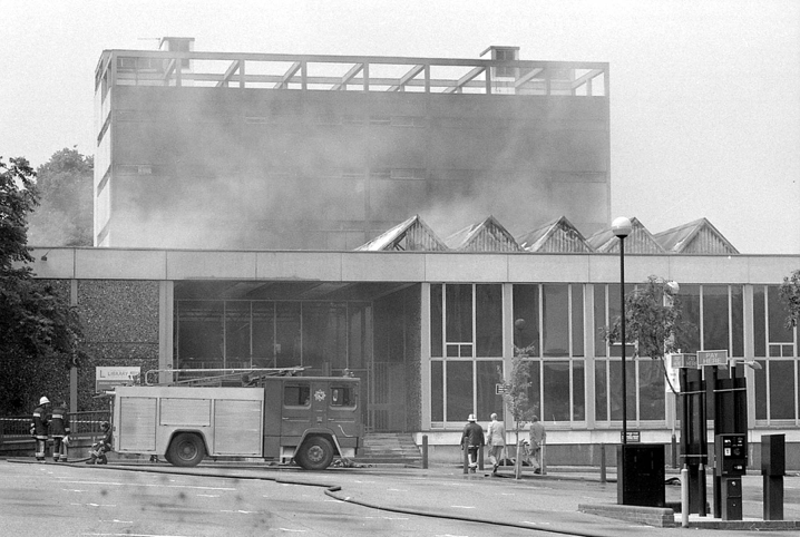 Firefighters attempt to control the fire at the Norwich Central Library