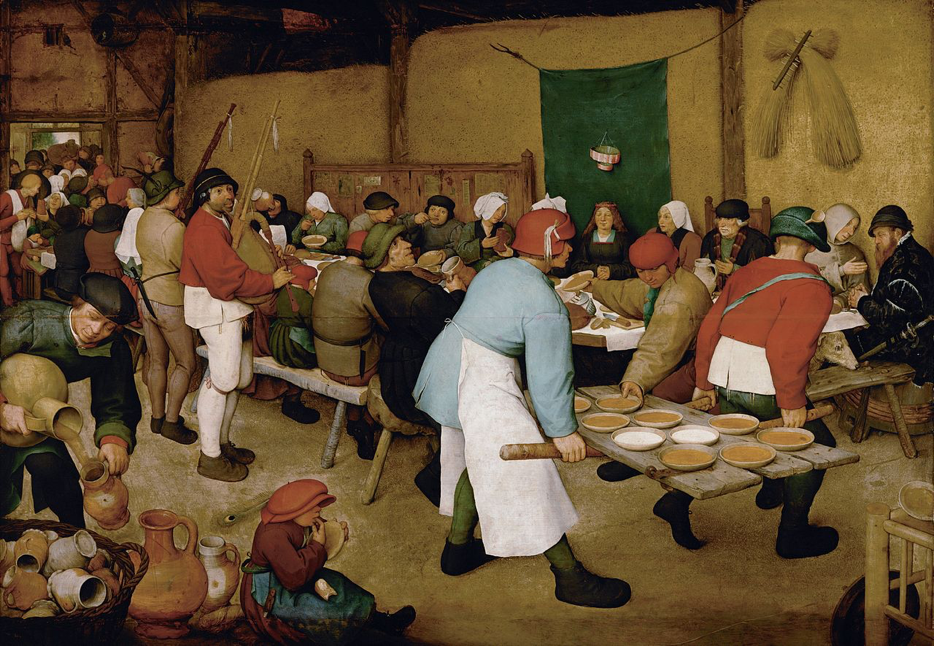 The Peasant Wedding by Pieter Bruegel the Elder, depicting one of many celebrations encountered in the peasant lifetime.  Image Source