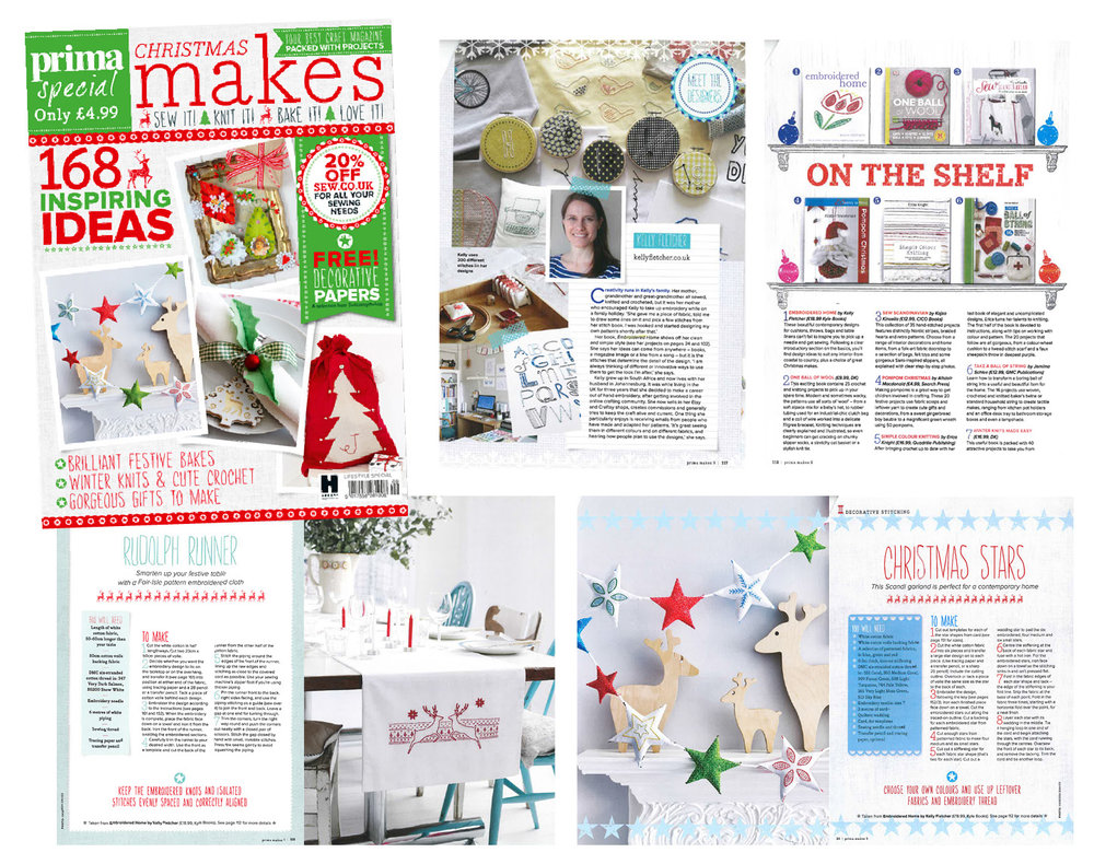 Designer profile and excerpts from Embroidered Home - Prima Makes, October 2015 (UK)