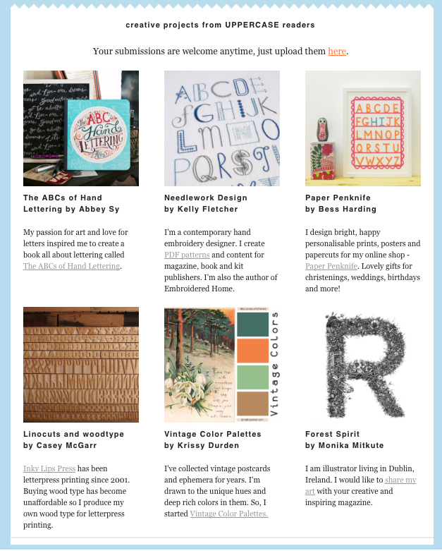 Deco Alphabet pattern - Uppercase publisher Janine Vangool's All About You newsletter, January 2016 (Canada)