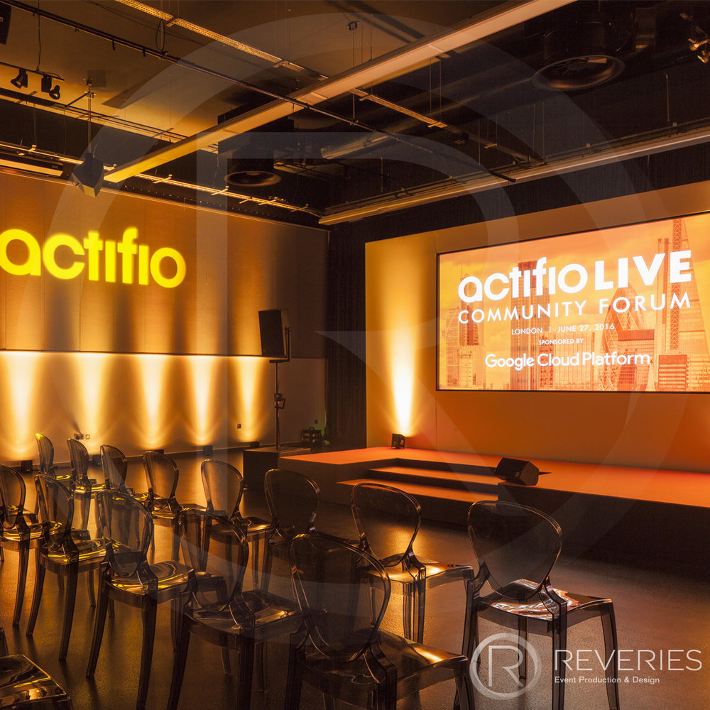 Actifio Conference - Bespoke stage design, AV set up and modern perspex seating
