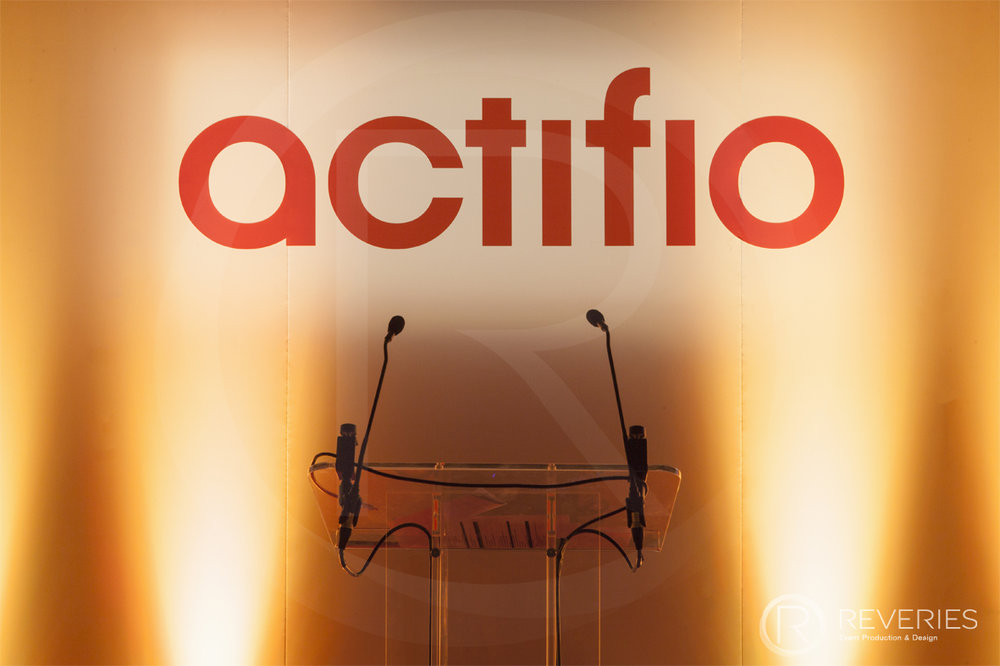 Actifio Conference - Bespoke branded Actifio signage and modern perspex podium