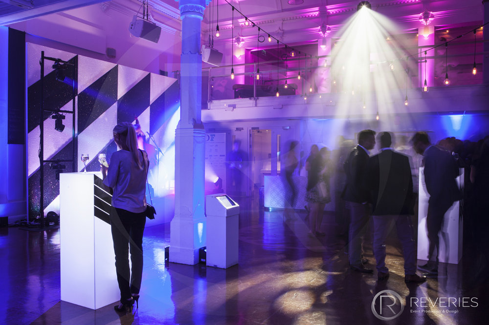 British Orthodontic Society Party - geometric themed backdrops and mood lighting