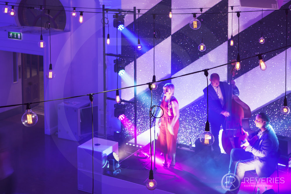 British Orthodontic Society Party - geometric themed backdrops, full AV setup for live band