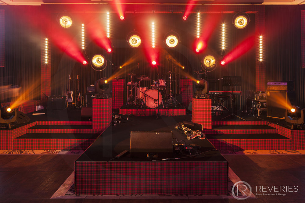 Burns Night Supper - Bespoke Scottish tartan stage set design