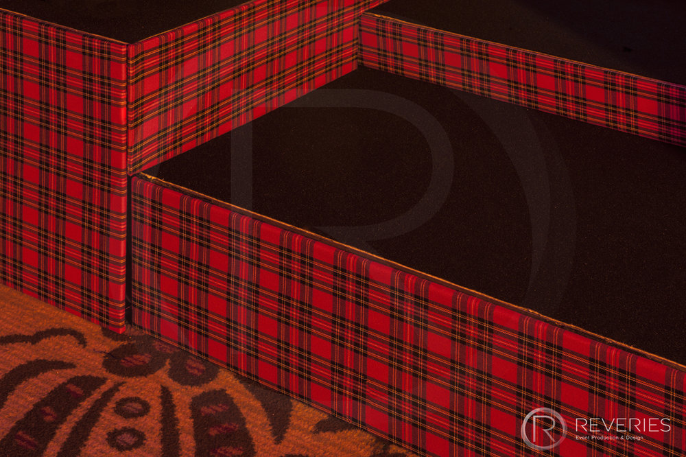 Burns Night Supper - Bespoke Scottish tartan stage set design close up