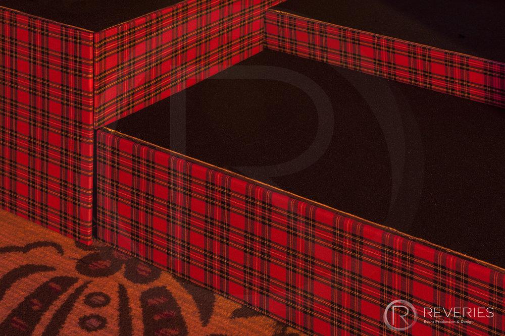Burns Night Supper - Bespoke Scottish tartan stage set design close up