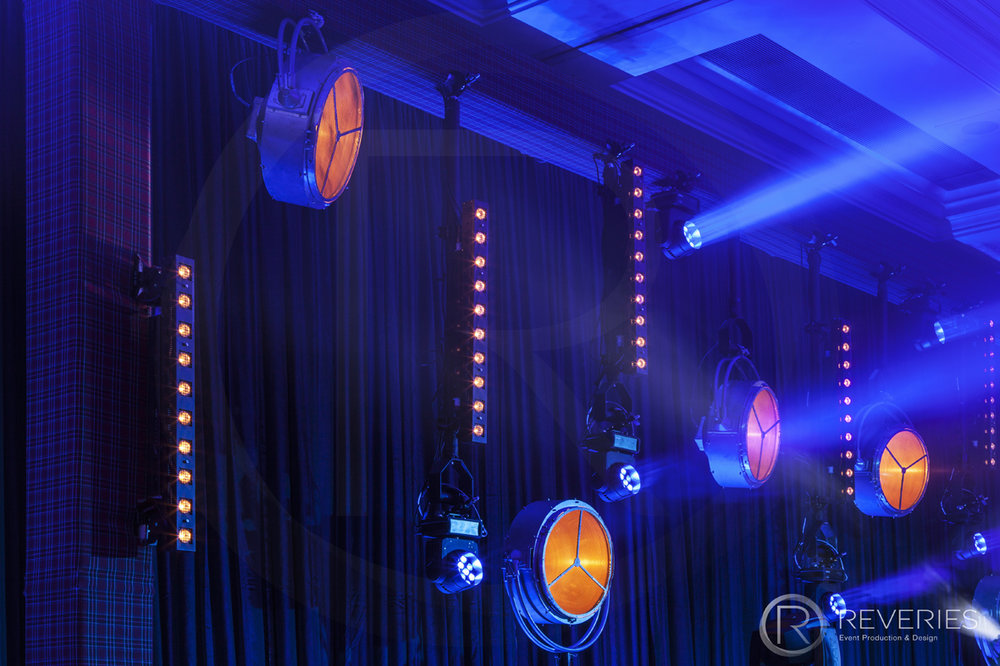 Burns Night Supper - Lighting design detail with Patt2013s, Sunstripes and Robe 100s