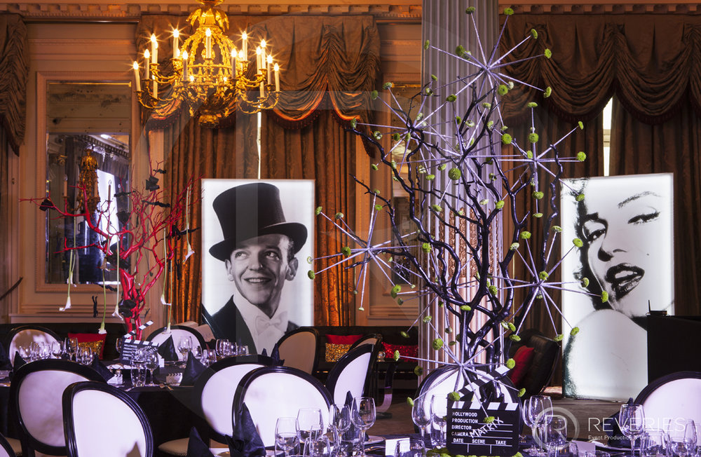 A Night At The Movies - The room with Hollwood stage, table settings and bespoke centrepieces