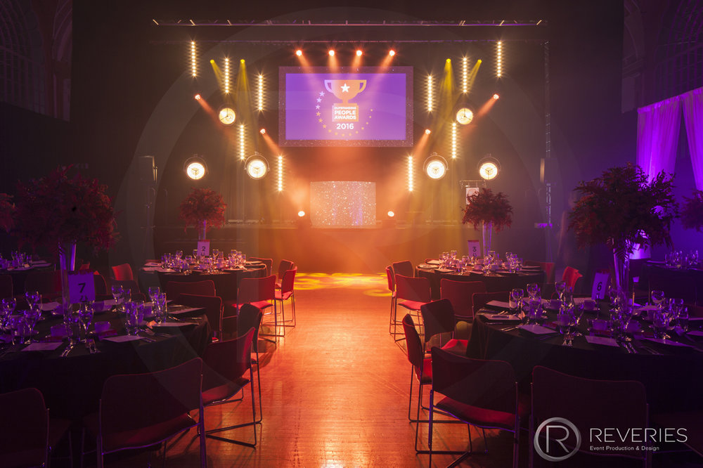 Outstanding People Awards - Tables, stage, intelligent lighting design and full AV set up