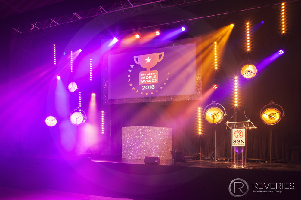 Outstanding People Awards - The stage, intelligent lighting design, full AV set up and giant screen