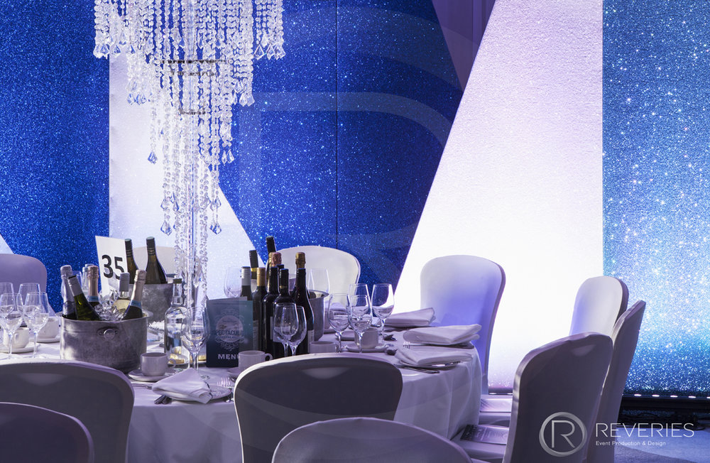 Snowman Spectacular 2016 - table, chandelier and bespoke glitter backdrops