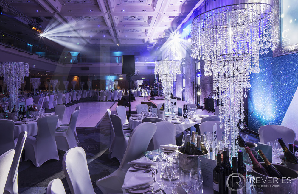 Snowman Spectacular 2016 - tables, chandelier centrepieces and dancefloor