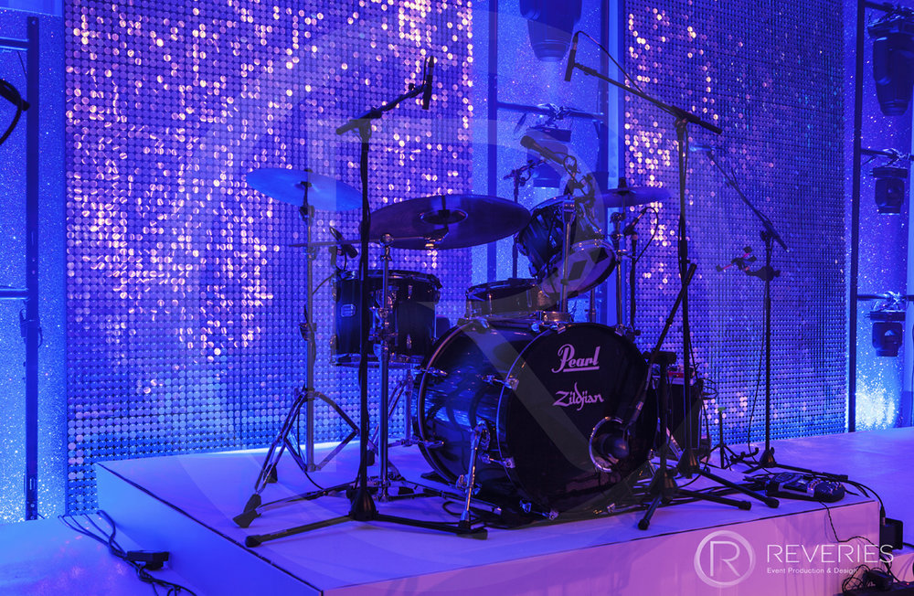 Snowman Spectacular 2016 - Bespoke stage design with full AV set up for live band - drumkit detail
