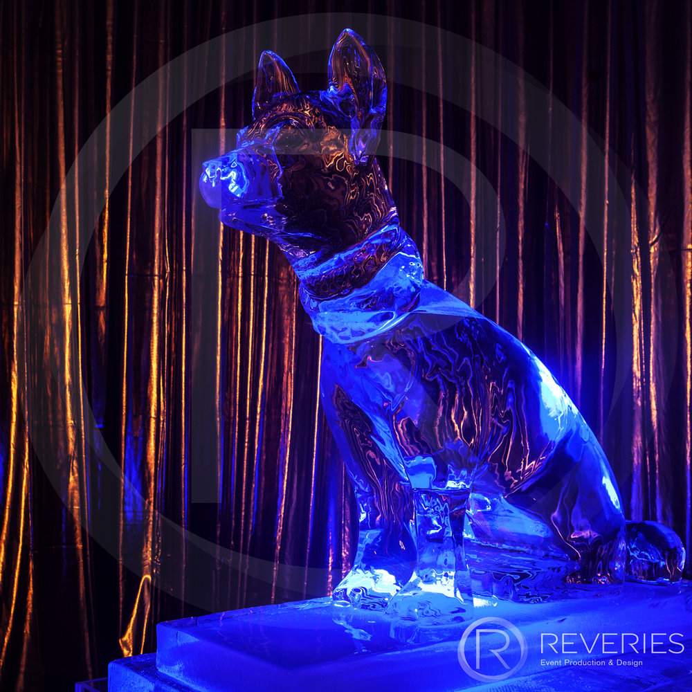 White Label - Dog ice sculpture