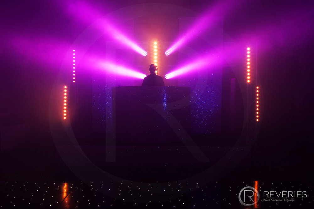 White Label - Bespoke glittered DJ booth, purple lighting