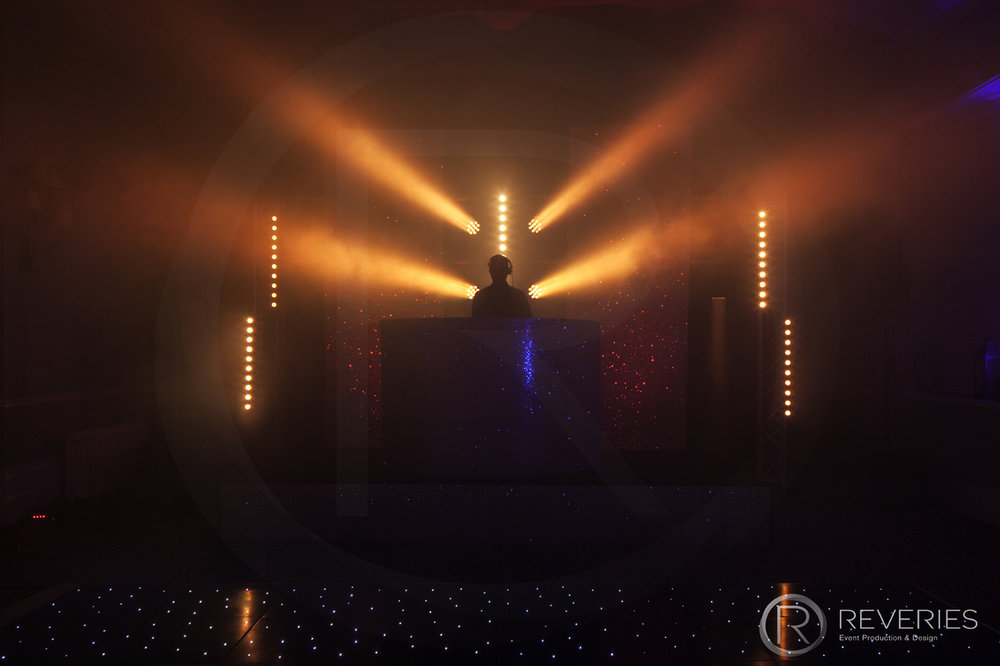 White Label - Bespoke glittered DJ booth, gold lighting
