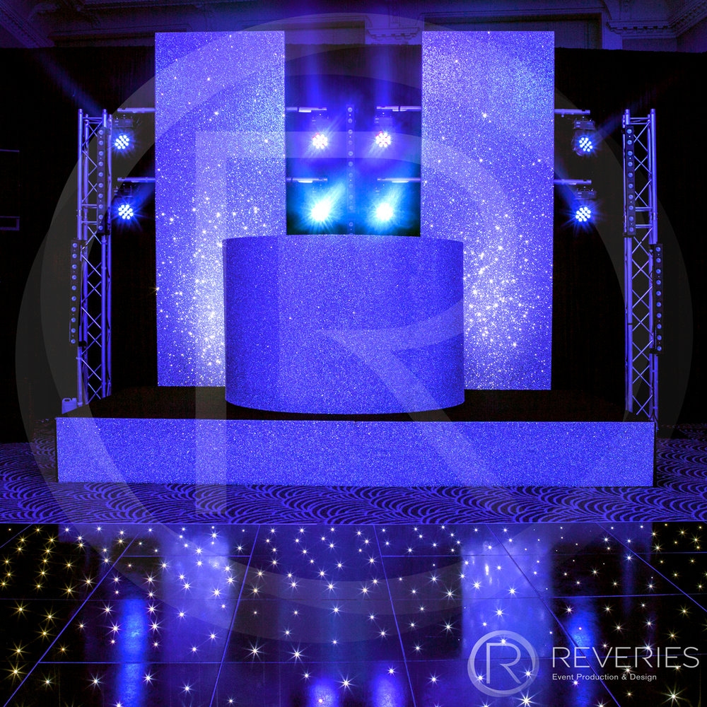 White Label - Bespoke glittered DJ booth and LED studded dancefloor