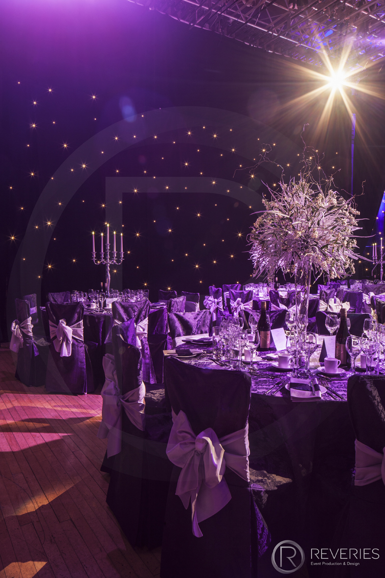 Gala Dinner - Table design with bespoke centrepiece and candelabra