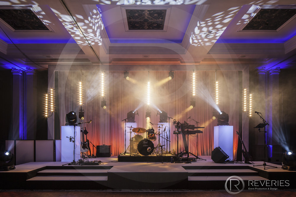 Centenary Ball - Bespoke stage design with full AV set up for live band