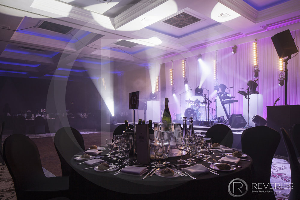 Centenary Ball - Table settings and bespoke stage design
