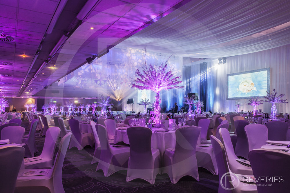 Snowman Spectacular - Room, table, lighting and drapery design