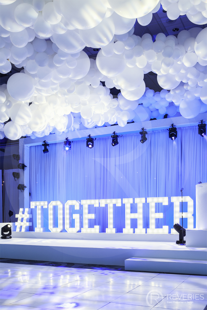 BHAFC #Together bespoke perspex sign and suspended balloons
