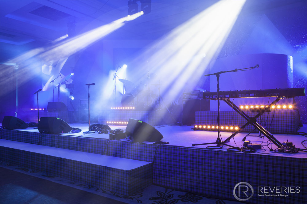 Burns Night Supper - Bespoke Scottish blue tartan stage set design