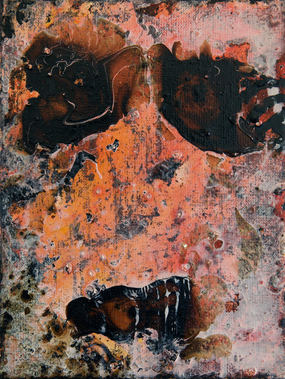 Tar 5 , 2016  Hanni Zurob Tar and pigments on canvas 24 x 18 cm