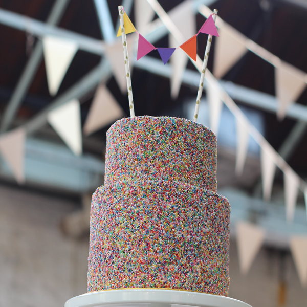 Sprinkle cake by Emma Page Buttercream Cakes London. This was delivered to MC Motors in Dalston, an industrial-style venue in London