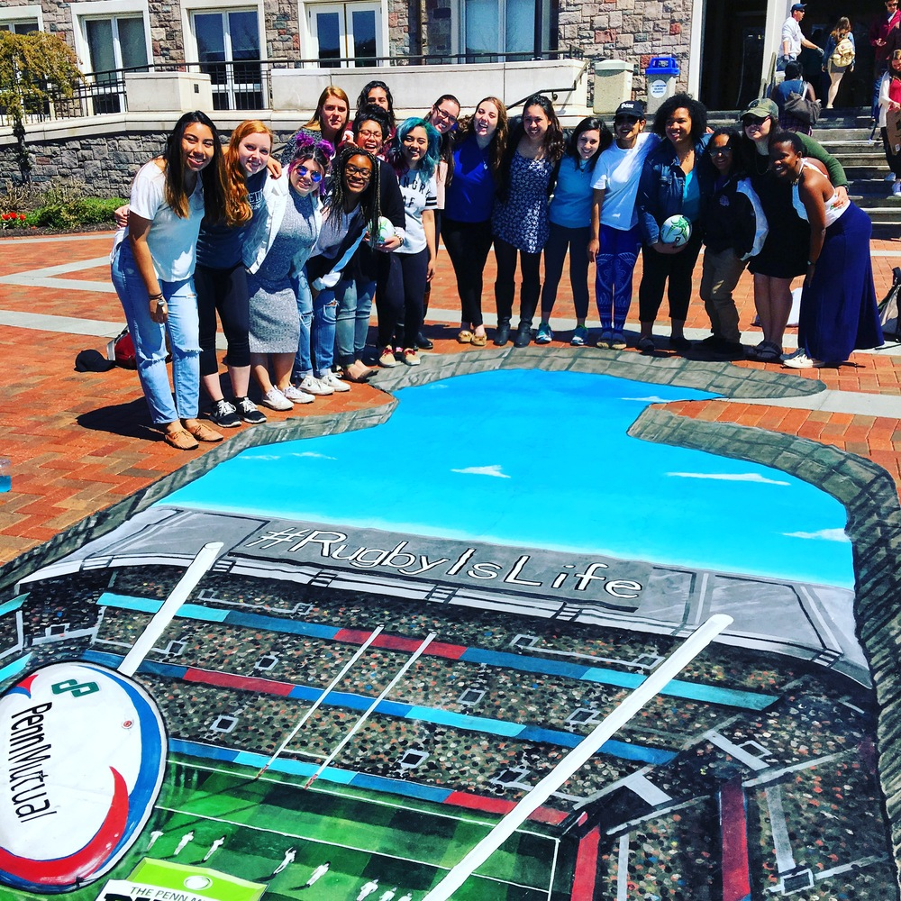 Lafayette College with Penn Mutual's  #RugbyIsLife 3D art on campus