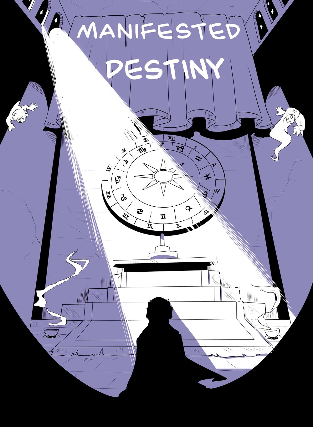"Manifested Destiny -    2016    When the king of an ancient civilization summons the astrological signs Aries and Pieces he seals not only the his own fate but the fate of his kingdom proving that one often meets his destiny on the road he takes to avoid it...  A 16 page fantasy story completed as part of a 60 page anthology, the theme of which is ""Astrology"" - 1 month work period"