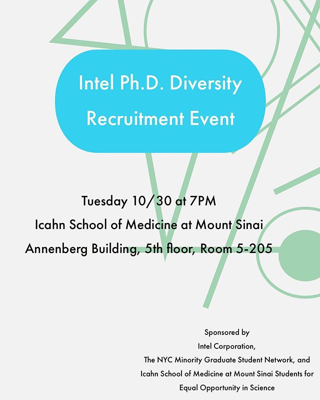 @intel #STEM #PhD #Diversity Recruitment Event on 10/30 at 7PM in #NYC. Interested in a new career, learning about developing new technologies or learning about other scientific career options? Come to our event!  All #PhD students, #postdocs and graduates are welcome. Please RSVP: https://docs.google.com/forms/d/e/1FAIpQLSfSRZQ_TJXpRNe8qUeWk7HS-UHp2wdYbv35sY-KLW7kTWv52w/viewform  #minoritiesinscience #phdlife #phdchat