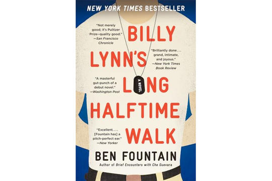 As we head into Super Bowl weekend, it's only fitting that I recommend a book that changed the way I think about professional football.    I read this in the fall, and it still pops into my mind all the time.    It's set in 2004, Thanksgiving Day at a Dallas Cowboys game, where 19-year-old soldier Billy Lynn and his squad are on the last stop of their USA victory tour after being deemed heroes for a firefight with Iraqi insurgents.     We're in Billy's head the whole time, experiencing all of his very conflicted thoughts about war and cheerleaders and football and the Hollywood producer who wants to option his squad's story and even Beyonce, who's performing at the halftime show that the squad will appear in. (The kernel of inspiration for this book was an actual Destiny's Child halftime performance at a Dallas Cowboys game on Thanksgiving Day in 2004.)    It's funny and smart and insightful and very sad, absolutely one of the best war books I've read, and, while we're at it, one of my favorite books about America in the 21st century.     Just learned Ang Lee's directing the movie version, which could be really amazing. So read it before that comes out.