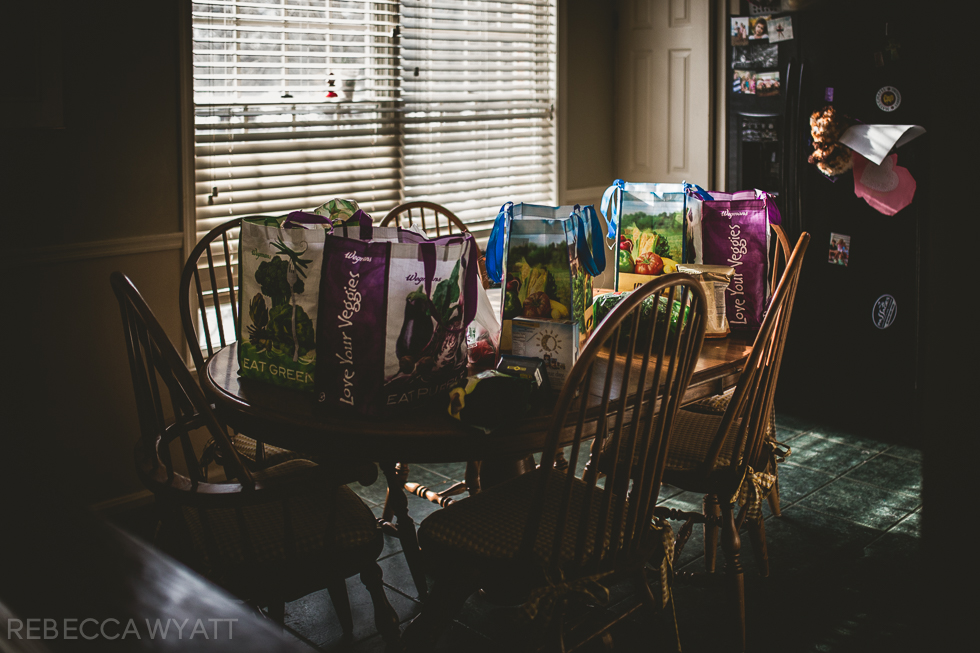 Groceries in window light.