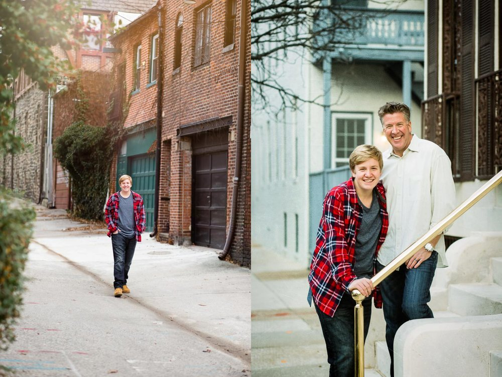 Images of a teen boy in a flannel shirt walking down a street and another posing with his brown haired father on a stoop.