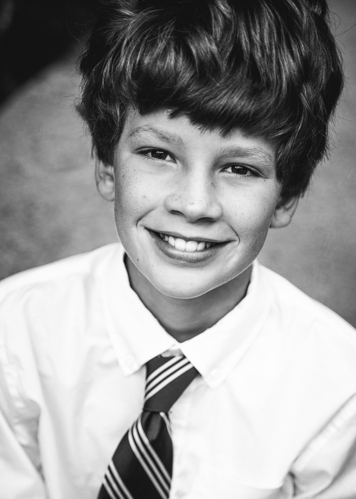 black and white portrait of young boy