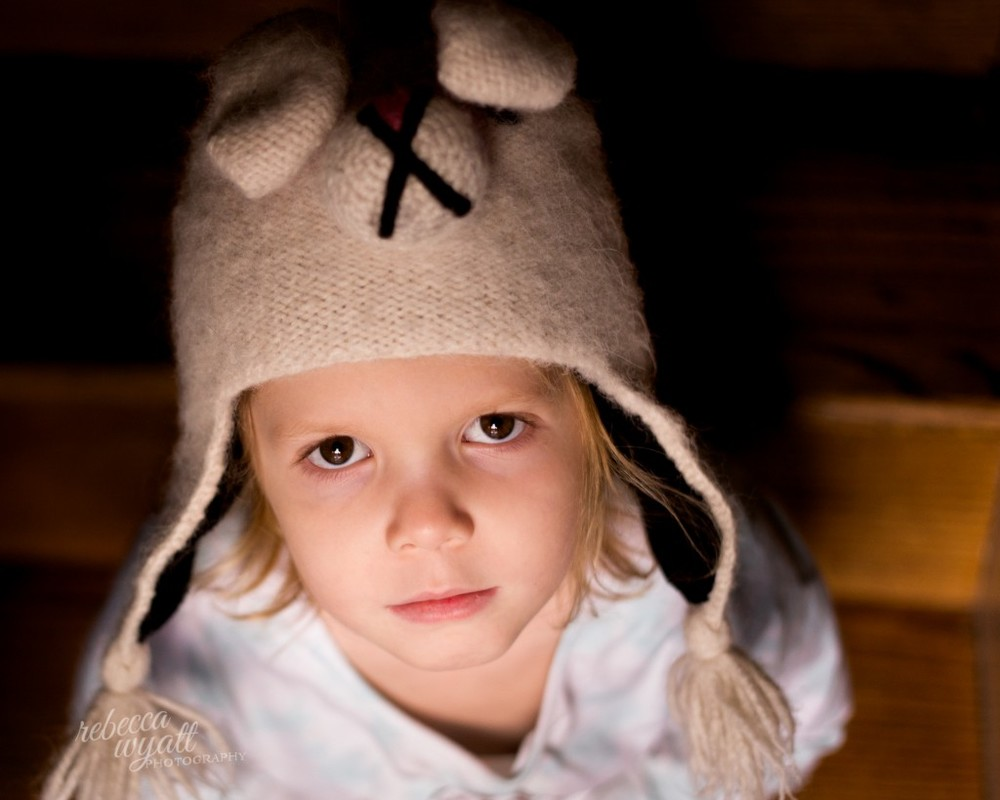 color portrait of girl in bunny hat