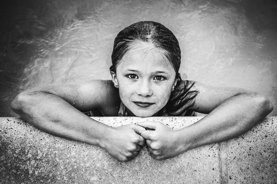 Girl in Pool in Black and White