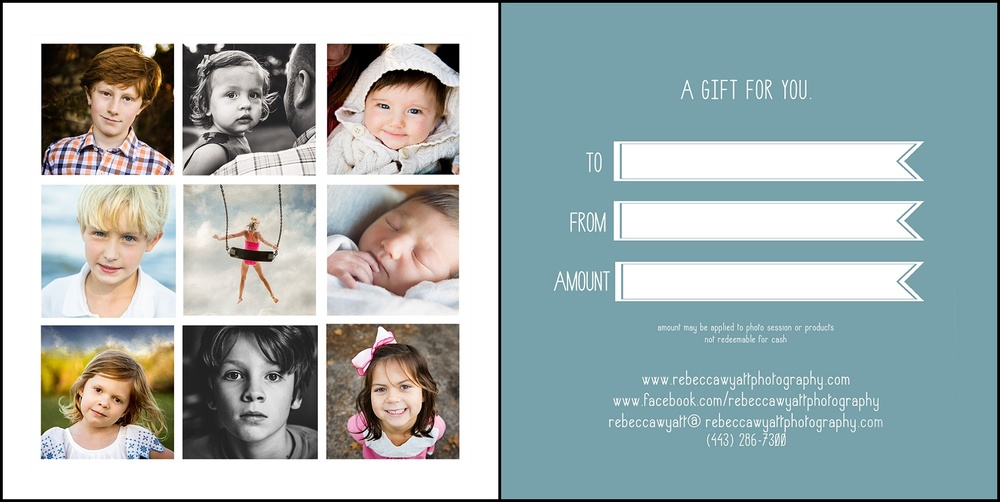 Rebecca Wyatt Photography Gift Cards
