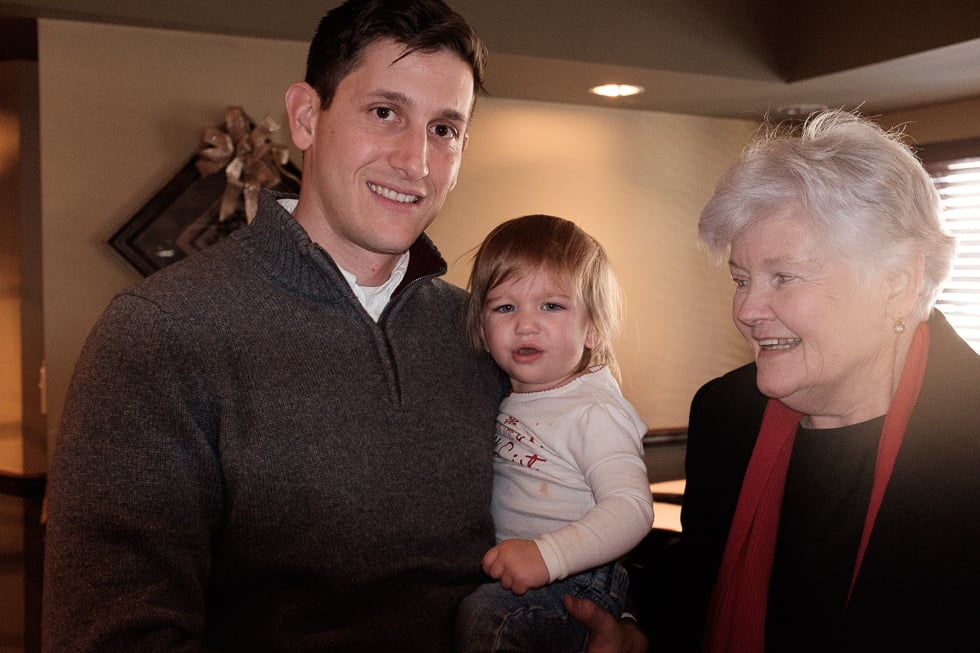 Grandma with her 2 favorites after her birthday lunch.