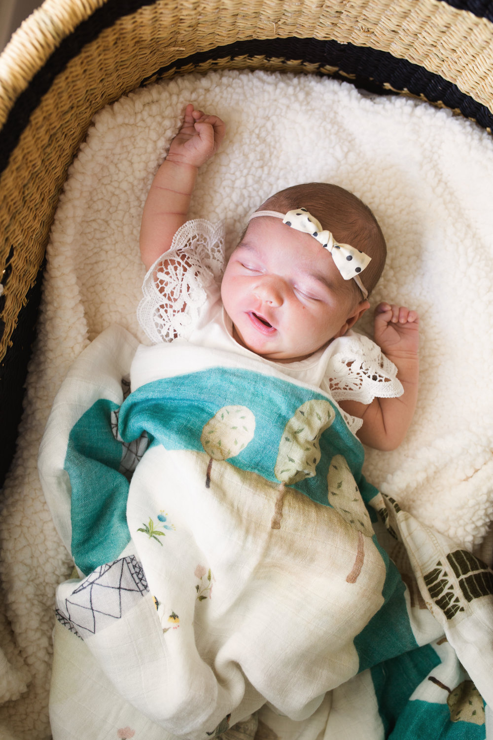 newborn baby girl in bassinet sleeps with one arm above her head
