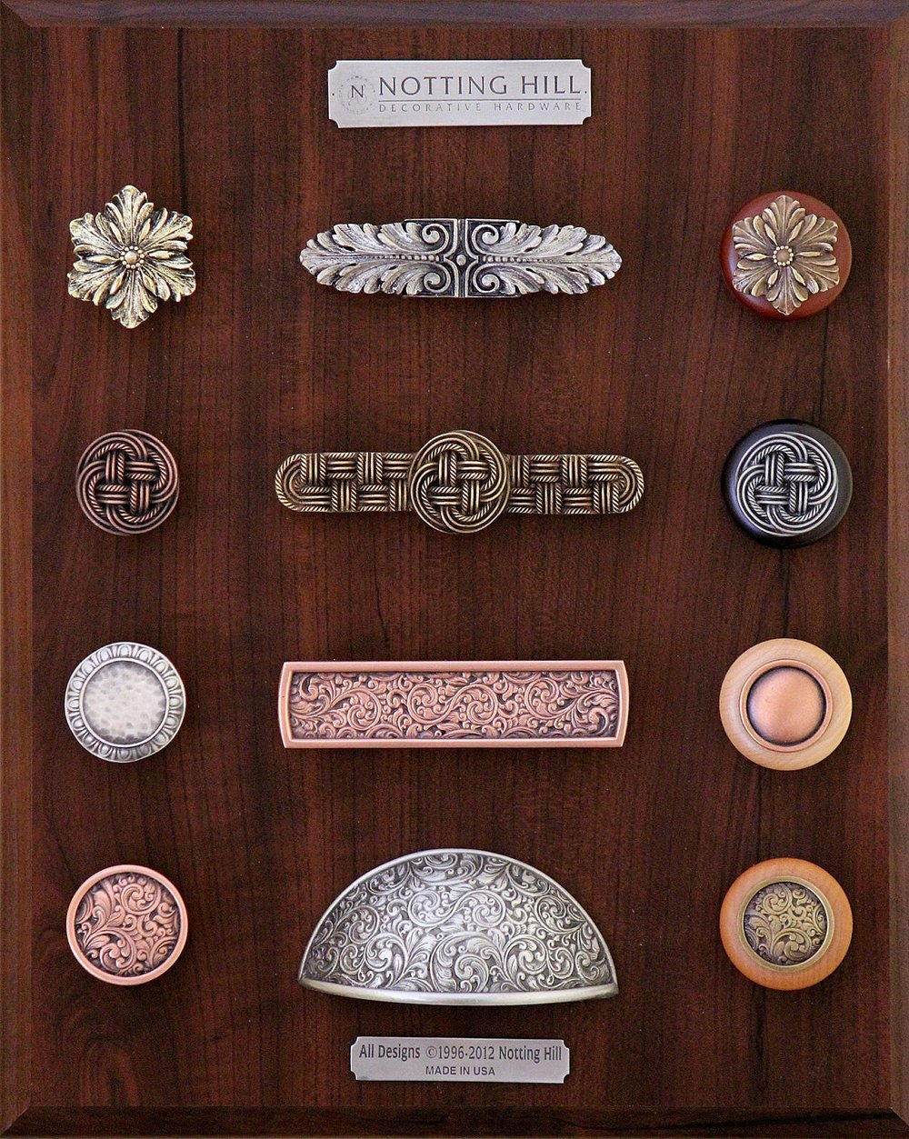 Opulent Flower Knob, Pull, & Wood Knob; Classic Weave Knob, Pull & Wood Knobs; Egg & Dart Knob; Saddleworth Pull; Plain Dome Wood Knob; Saddleworth Knob, Bin Pull & Wood Knob.
