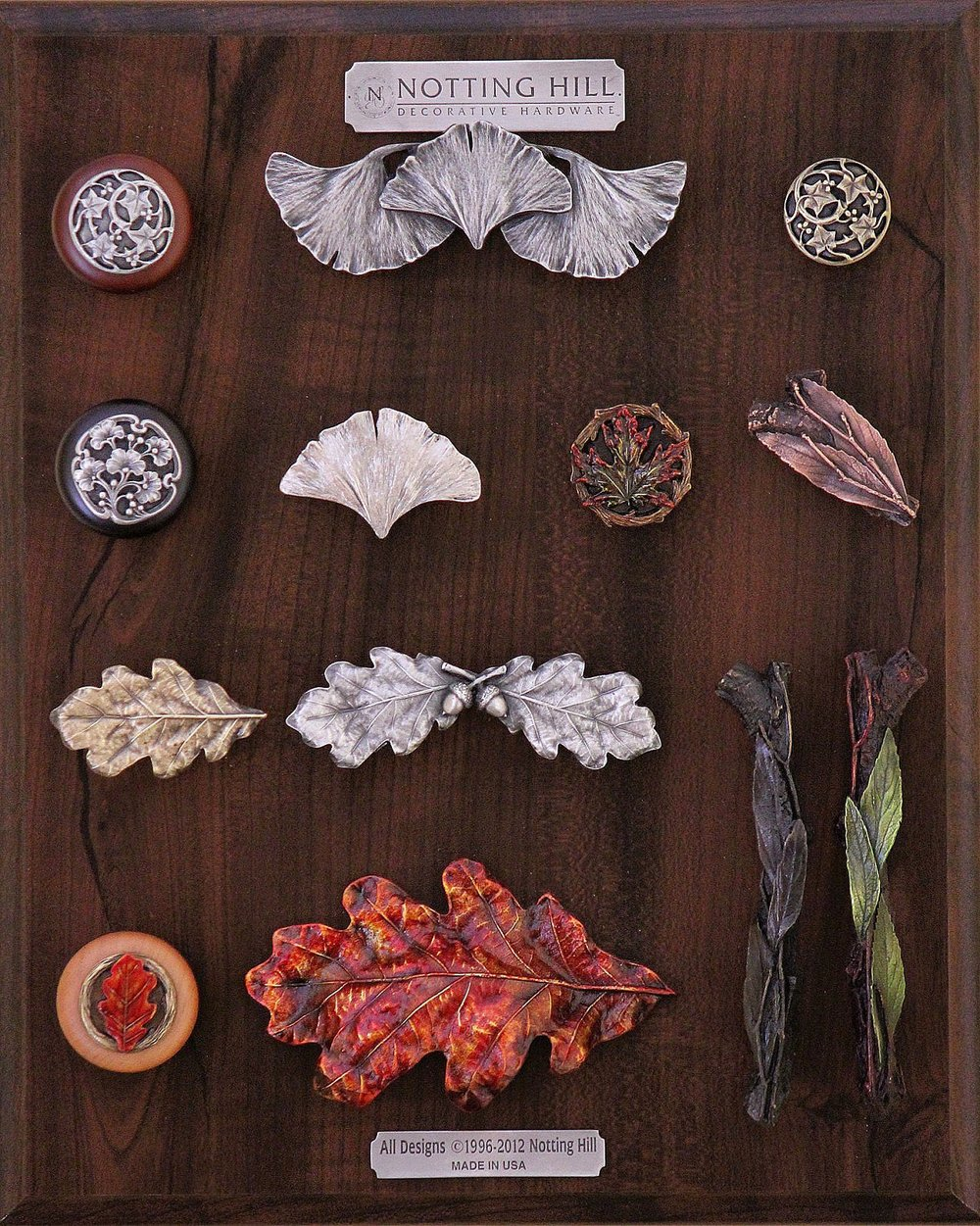 Ivy with Berries Wood Knob, Ginkgo Leaf Pull, Ivy with Berries Knob, Ginkgo Berry Wood Knob, Ginkgo Leaf Knob, Maple Knob, Leafy Twig Knob, Oak Leaf Knob, Pull, Wood Knob, Bin Pull; Leafy Branch Pulls (L & R)