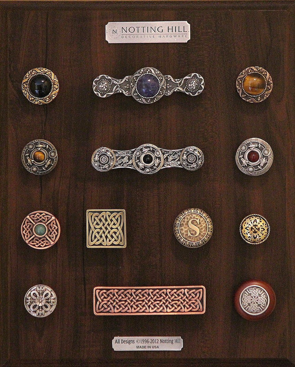Victorian Jewel Knobs (2); Victorian Jewel Pull; Jeweled Lily Knob; Jeweled Lily Pull; Jeweled Lily Knob with Jeweled Lily Back Plate; Celtic Jewel Knob; Celtic Isles Knob; Moroccan Jewel Knob; Initial Knob; Celtic Shield Knob; Celtic Isles Pull; Celtic Isles Wood Knob.